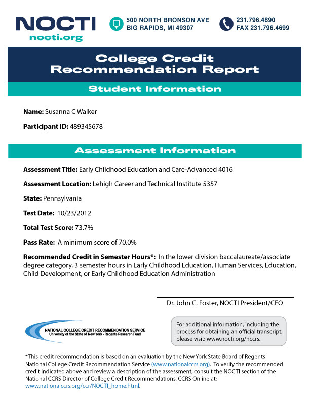 College Credit Report Sample