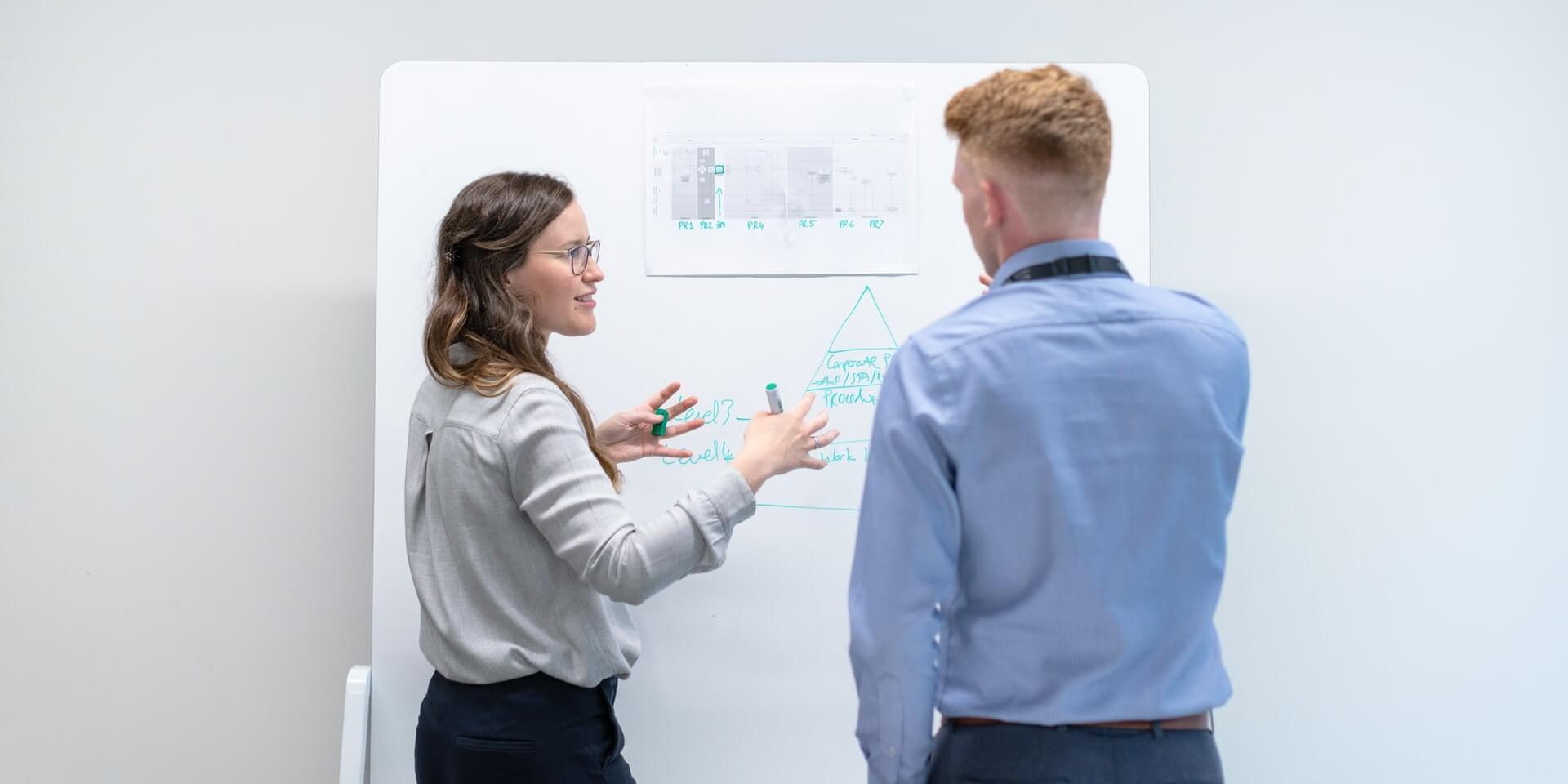 two people discussing tactics at a whiteboard